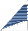trikotno plise senčilo, regulacija z ročko